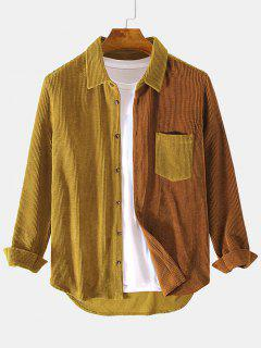 Two Tone Front Pocket Corduroy Shirt - Light Brown M