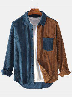Two Tone Front Pocket Corduroy Shirt - Deep Blue S