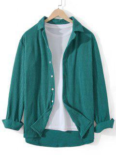 Fleece Button Up Plain Shirt - Dark Turquoise L