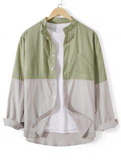 Chemise Boutonnée Bicolore Avec Poche En Avant - Vert Foncé De Mer M