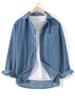 Front Pocket Solid Corduroy Shirt - Silk Blue 3xl