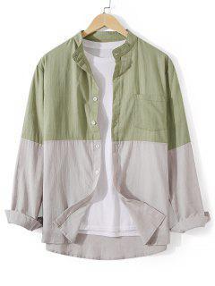 Front Pocket Button Down Two Tone Shirt - Dark Sea Green 2xl