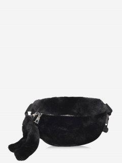 Faux Fur Solid Waist Chest Bag - Black