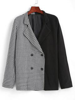 Houndstooth Two Tone Double Breasted Blazer - Black Xl