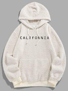 ZAFUL Letter Embroidered Faux Shearling Fluffy Hoodie - White Xl