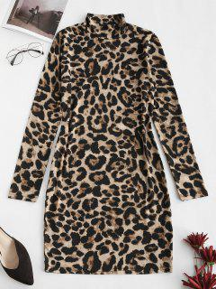 Leopard High Neck Bodycon Mini Dress - Coffee M