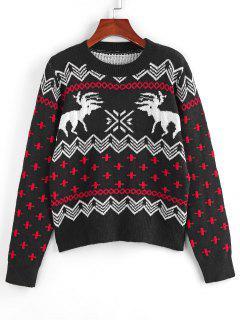 ZAFUL Fair Isle Knit Ribbed Trim Jumper Sweater - Black L