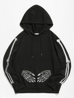 ZAFUL Halloween Skeleton Embroidered Front Pocket Hoodie - Black Xl