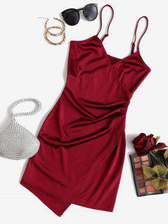 ZAFUL Draped Shiny Surplice Dress - Red Wine S