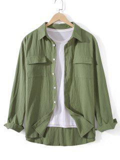 Pockets Button Up Casual Shirt - Fern Green Xl