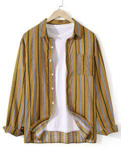 Striped Chest Pocket Button Up Tunic Shirt - Deep Yellow S