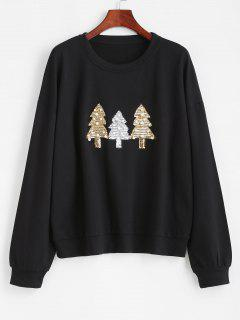 Beading Sequins Christmas Trees Sweatshirt - Black S