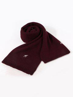 Embroidery Elk Pattern Knitted Scarf - Deep Red