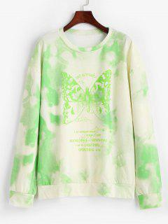Tie Dye Butterfly Print Boyfriend Tunic Sweatshirt - Light Green M