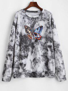 Tie Dye Butterfly Printed Drop Shoulder Sweatshirt - Black S