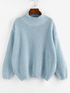 ZAFUL Mock Neck Drop Shoulder Oversized Sweater - Light Blue L