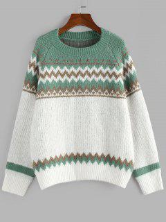 ZAFUL Zig Zag Raglan Sleeve Jumper Sweater - Green M