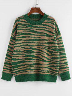ZAFUL Zebra Drop Shoulder Jumper Sweater - Deep Green S