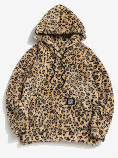 ZAFUL Leopard Pattern Applique Fluffy Hoodie - Deep Yellow S