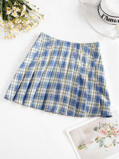 ZAFUL Plaid Mini Pleated Skirt - Sky Blue S