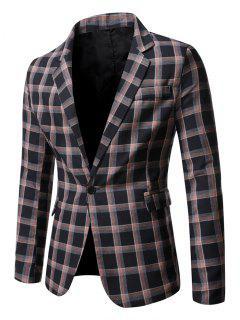 Windowpane Check Pattern Single Button Blazer - Black L