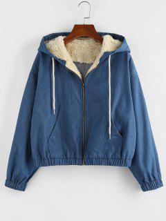 ZAFUL Faux Shearling Insert Hooded Drop Shoulder Denim Jacket - Denim Blue M
