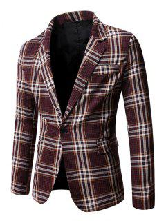 Schlitz Single Button Kariert Blazer - Roter Wein S