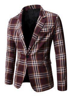 Slit Single Button Plaid Blazer - Red Wine Xl