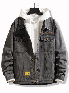 Slogan Embroidery Flap Pocket Jean Jacket - Dark Gray Xs