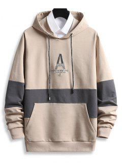 Letter Embroidered Front Pocket Contrast Hoodie - Champagne M