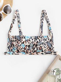 ZAFUL Ribbed Leopard Butterfly Print Bikini Top - Multi M