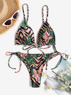 ZAFUL Plant Mix Zebra Print Tie String Bikini Swimwear - Light Brown M