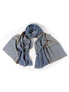Faux Cashmere Houndstooth Scarf - Silk Blue