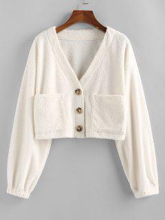 ZAFUL Faux Fur Shearling Pocket Short Coat - White L