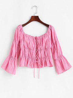 Lace Up Crinkle Peplum Blouse - Light Pink L