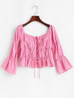 Lace Up Crinkle Peplum Blouse - Light Pink S