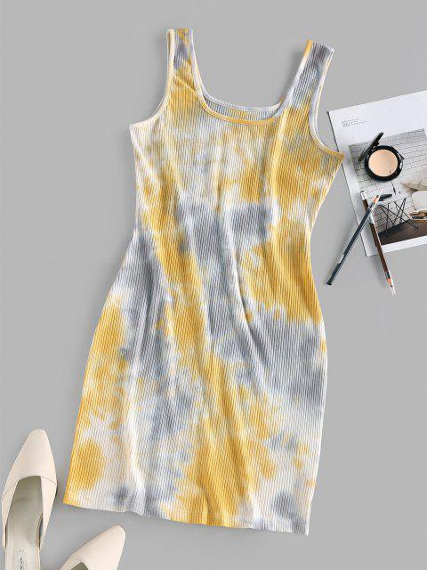 sale ZAFUL Ribbed Tie Dye Bodycon Tank Dress - LIGHT YELLOW S Mobile