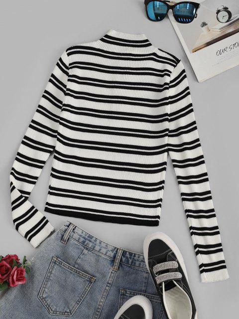 best Striped Ribbed Half Zip Jumper Sweater - WHITE ONE SIZE Mobile
