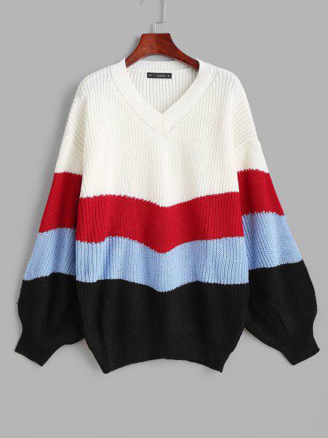 Lantern Ärmel Streifen Pullover - Multi Eine Größe Mobile