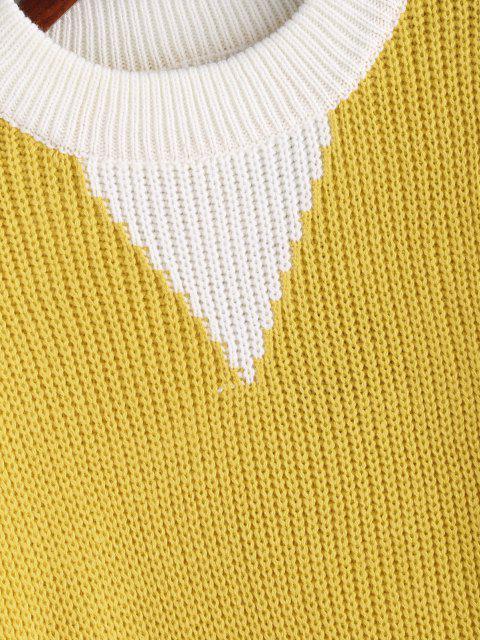 Ellenbogen Patches Farbblock Pullover - Niedliches Gummi Gelb Eine Größe Mobile