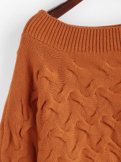 Fledermaus Cable Stick Pullover - Hellbraun Eine Größe Mobile