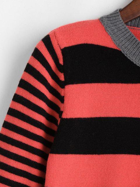 ZAFUL Schlitz Streifen Pullover - Multi Eine Größe Mobile