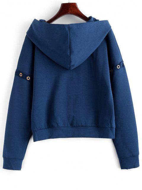 best ZAFUL Eyelet Zipper Drop Shoulder Jacket - CADETBLUE L Mobile