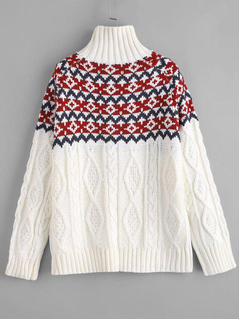 fancy ZAFUL Cable Knit Turtleneck Graphic Sweater - WHITE ONE SIZE Mobile