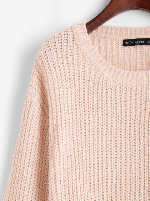 ZAFUL Hoher Niedriger Glänzender Pullover mit Faden - Hell-Pink Eine Größe Mobile