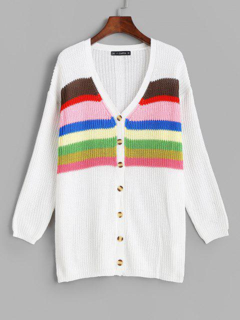 womens ZAFUL Button Up Colorful Stripes Cardigan - WHITE ONE SIZE Mobile