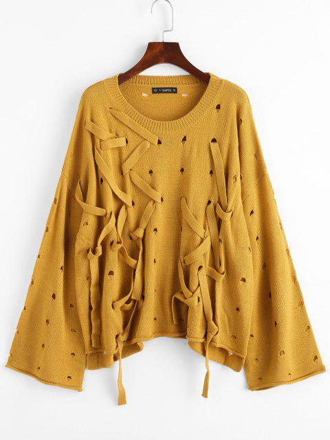 ZAFULドロップショルダー印刷ストラップセーターをリブ - オレンジゴールド ワンサイズ Mobile