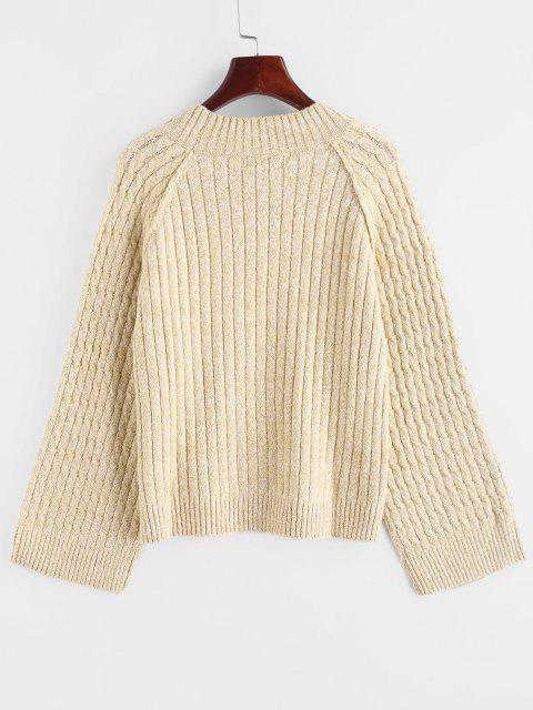 best Raglan Sleeve Cable Knit Sweater - CHAMPAGNE ONE SIZE Mobile