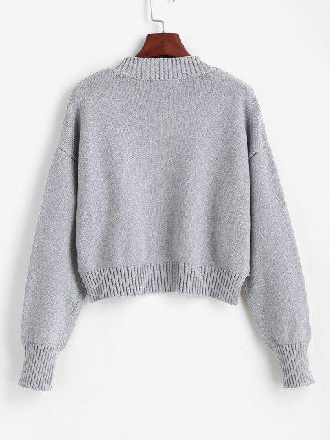 women's Cropped Cutout Sweater - GRAY CLOUD ONE SIZE Mobile