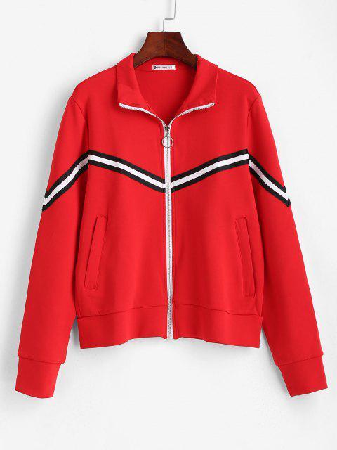 hot ZAFUL Striped Zipper Pocket Jacket - RED L Mobile
